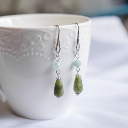Amazonite Olivine Jade Silver Earring
