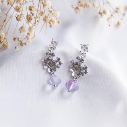 Haru Hana Fantasy Purple #1 Silver Earring