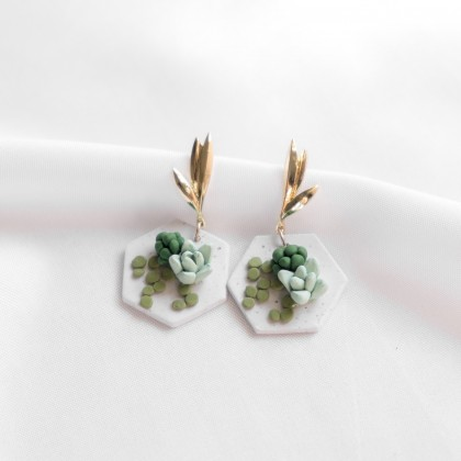 Succulent #6 Polymer Clay Earring