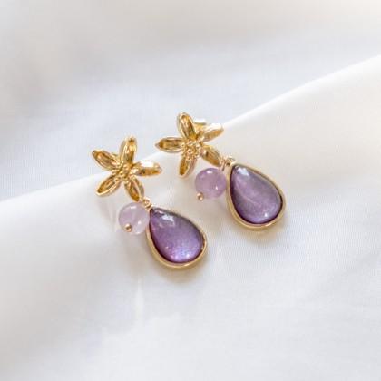 Springtime-Glitter Amethyst Purple Gold Earring