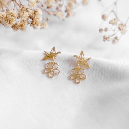 Springtime Golden Flower-Sakura Origami Bird Gold Earring