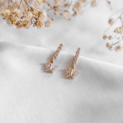 Springtime Golden Flower-Butterfly Gold Earring