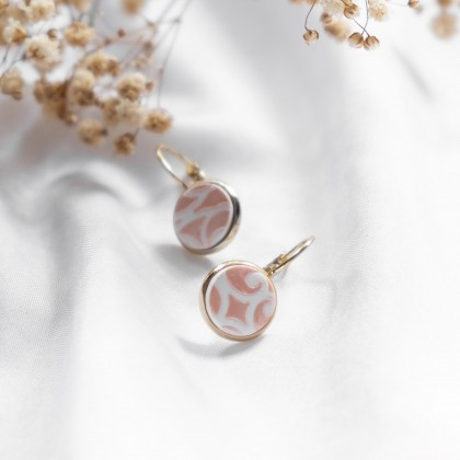 Glittery Blush Texture #7 Polymer Clay Stud Earring