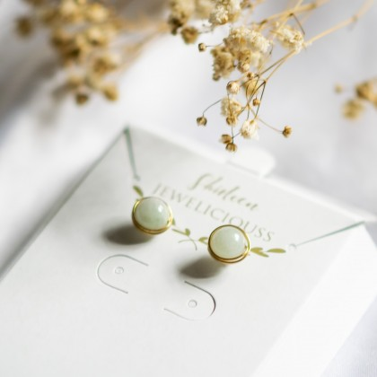 Natural Stone Wire Wrap Stud Gold Earring
