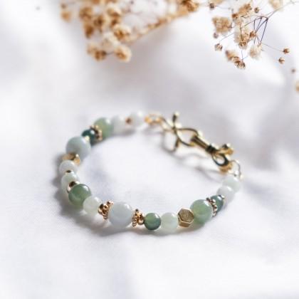 Shades of Green Jade Gold Bracelet